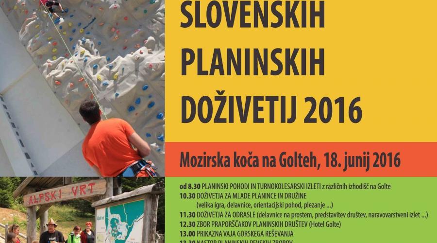 Dan slovenskih planinskih doživetij