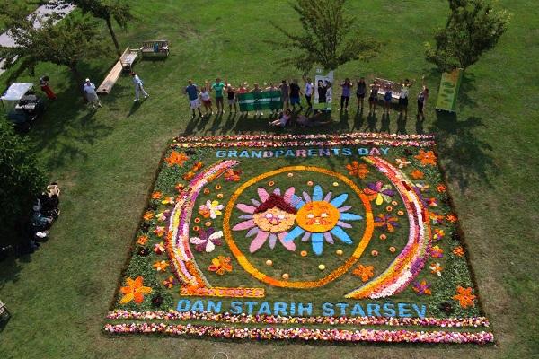 Največja cvetlična preproga v Arboretumu posvečena medgeneracijskemu sožitju