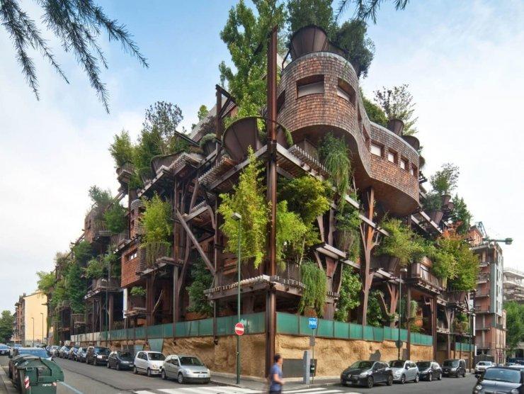 Zeleni blok v Torinu: kot bi živeli v hiški na drevesu